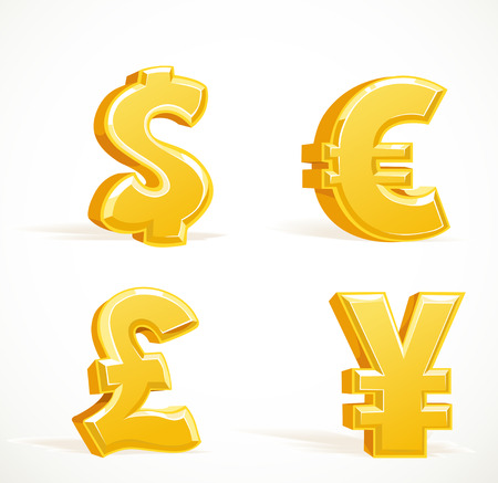 credit union: Monetary gold signs - dollar, pound, euro and yen Illustration