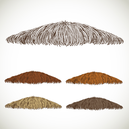 fake mustaches: Mustache groomed in several colors set1. easily editable detailed graphic design