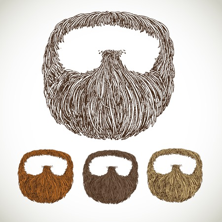wear mask: Neat beard in color variations Illustration