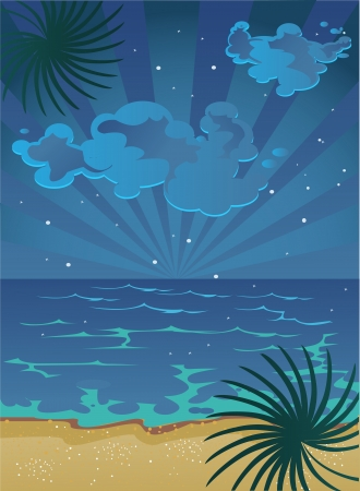 nocturnal: vector picture of cartoon summer nocturnal beach with clouds on sky and stars