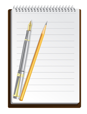Notebook background in lines with pen and pencil