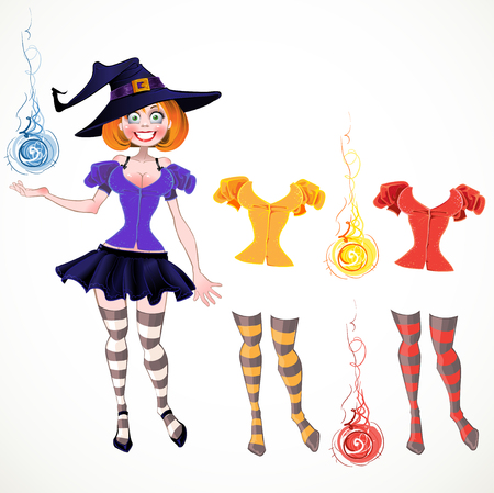 sexy witch: sexy witch and set of different colours dress