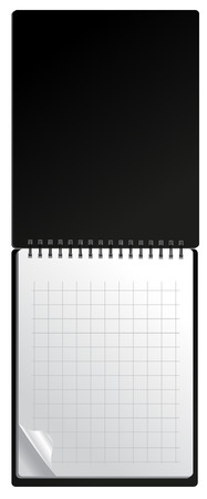 Open black notebook with page curl Vector