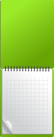 Open green notebook with page curl Иллюстрация