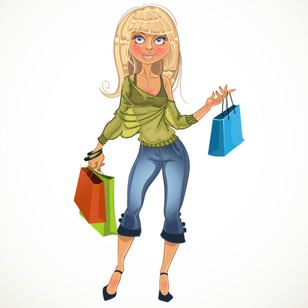 glamur: pretty blond shopping glamur girl Illustration