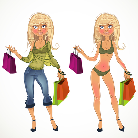 fortunate: pretty nude blond shopping glamor girl and in clothe