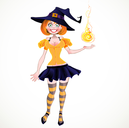 fireball: Pretty sexy witch with fireball Illustration