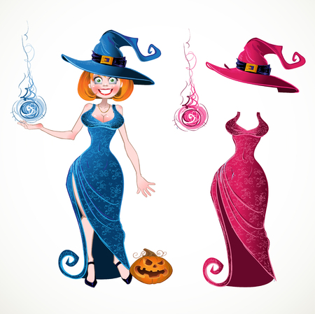 Pretty witch with fireball in blue dress and pink batch of suit Vector