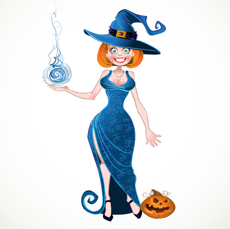 waterproof cape: Pretty witch with fireball in blue dress and pumpkin Illustration