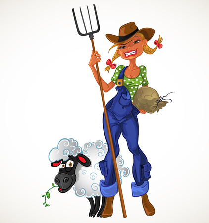 Sexy farm girl with agricultural implements and sheep Stock Vector - 23149664