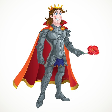 prince charming: Prince Charming in armour give flover
