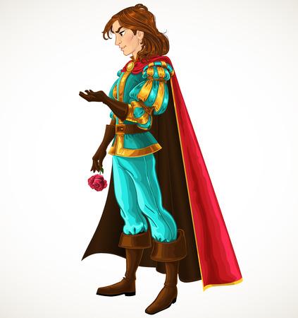 Il principe in blu e oro con rosa Vettoriali