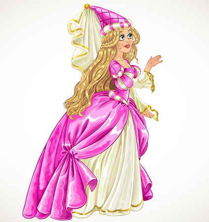 Princess in pink dress say Yes and give her hand Vector