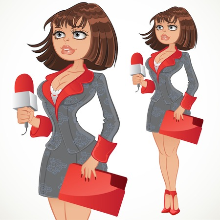 Reporter girl in gray suit with red folder Vector