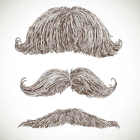 sideburn: Retro mustache set Illustration