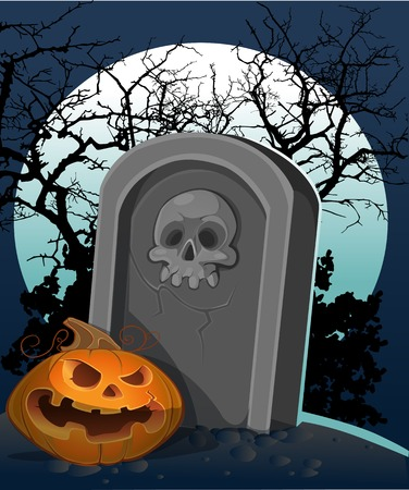 samhain: Halloween decoration - a grave with a pumpkin in the night
