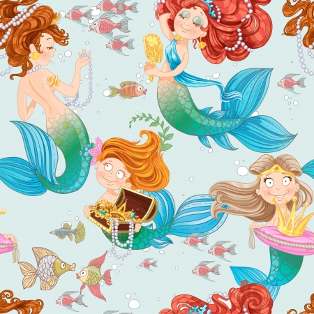 Seamless pattern from mermaid girls with treasures Stock Vector - 23149830