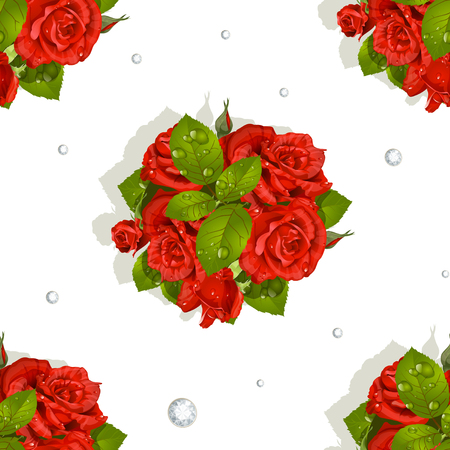 Seamless pattern of a romantic bouquet of red roses and diamonds Vector