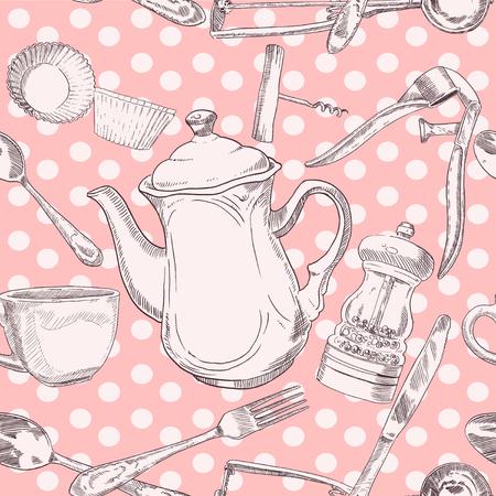 press nuts: Seamless pattern of kitchen utensils vintage in light colors Illustration