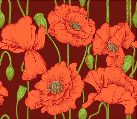 seamless pattern of red poppies on dark background Vector