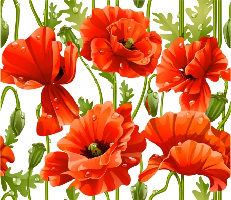 oldened: seamless pattern of red poppies realistic