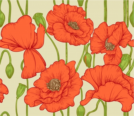 oldened: seamless pattern of red poppies