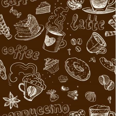 trekken: naadloze patroon met koffie gebak taarten latte en cappuccino op donkere achtergrond