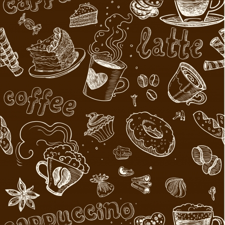 seamless pattern with coffee cakes pies latte and cappuccino on dark background Illustration