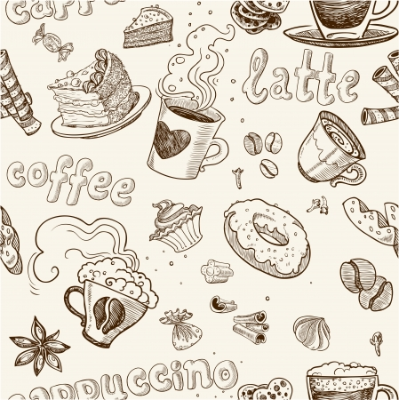 seamless pattern with coffee cakes pies latte and cappuccino Stock Vector - 23149911