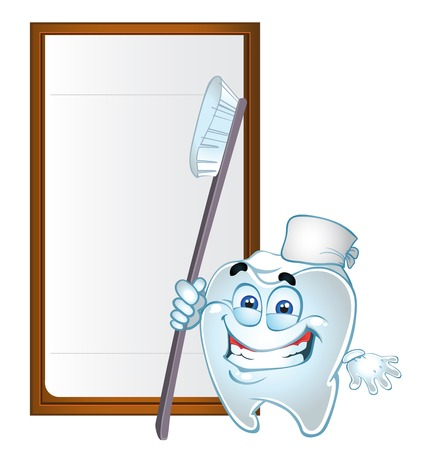 batch: set of batch clever tooth with text area and tooth brush Illustration