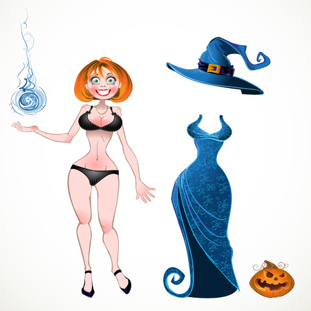 set of batch witch with evening dress and pumpkin Vector