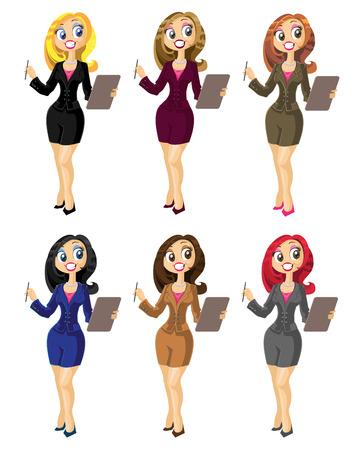 Set van bisness vrouw in kleur variant