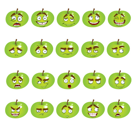 thoughtfulness: set of smiles apples