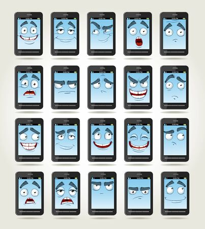 thoughtfulness: set of smile phones with different emotions