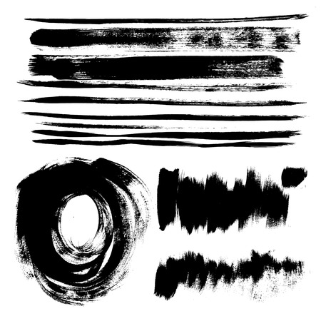 Set of texture strokes of black paint for your design vector Stock Vector - 23149901