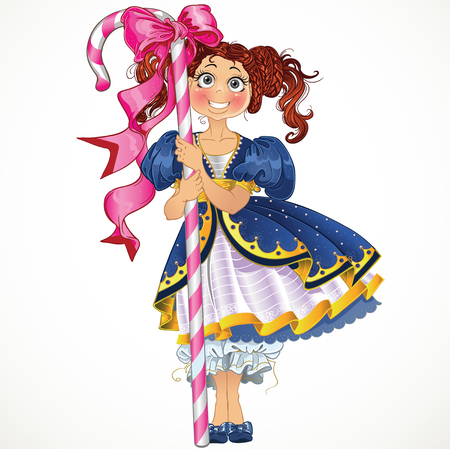 period costume: Little pretty girl with candy Illustration