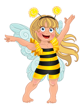 abeja reina: Pequeña niña en traje de carnaval de la abeja Vectores