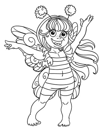 queen of angels: Small girl in carnival suit bee black outline for coloring Illustration