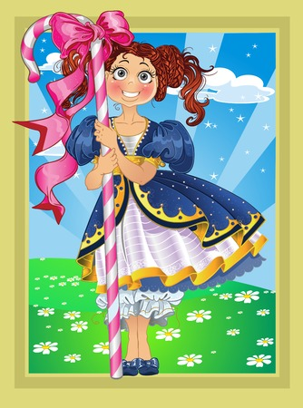 stage costume: Small girl with candy on Fairytale landscape