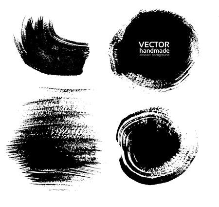 Manchas y huellas digitales de espesor de pintura negro sobre papel con textura