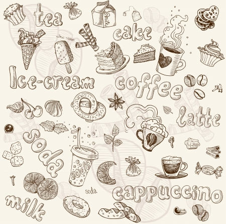 Sweet seamless pattern with drinks and sweets
