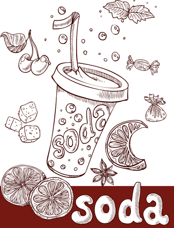 soft drinks: sweet soda with fruit and sweets. handwriting Illustration