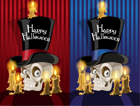 scary story: Terrible banner with a skull in the cylinder - Happy Halloween Illustration