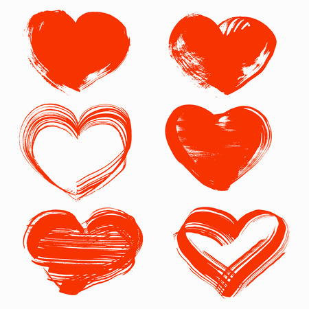 Valentines day abstract handdrawn by brush heart Stock Vector - 23150273