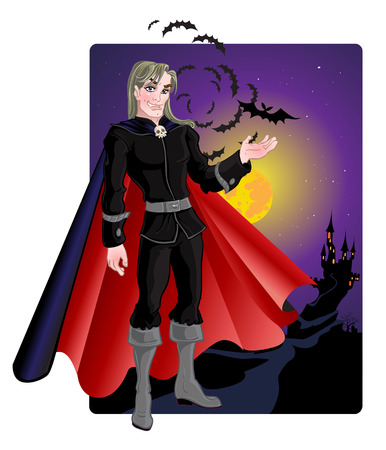 vampire with a castle Vector