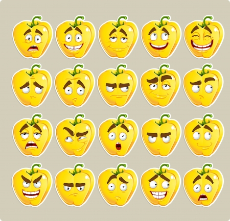 spirited: Vector cartoon yellow Bulgarian pepper smile with many expressions Illustration
