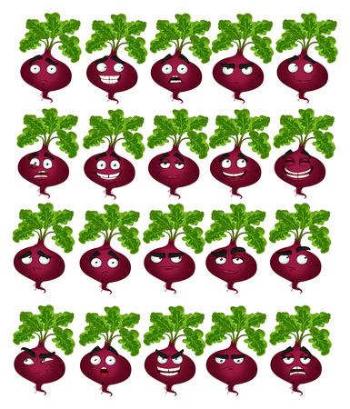 self conceit: Vector cute cartoon beetroot smile with many expressions