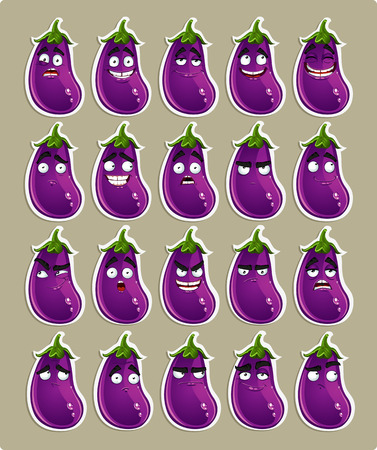 thoughtfulness: Vector cute cartoon eggplant smile with many expressions stickers