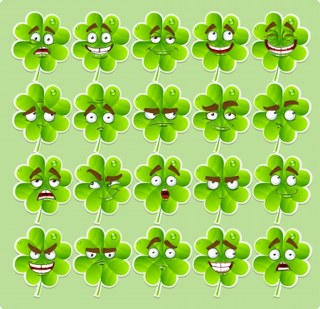 Vector cute cartoon four-leaf clover with many expressions stickers Vector