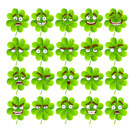 Vector cute cartoon four-leaf clover with many expressions